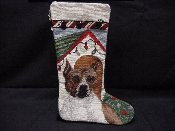 American Staffordshire Terrier Needlepoint Stocking