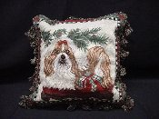 Shih Tzu Holiday Pillow